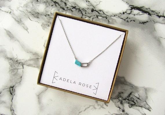 Turquoise Chevron Pendant Necklace, Dainty Turquoise Necklace, Dainty Necklace, Pendant Necklace, Everyday Jewelry, Boho Necklace, Boho Chic