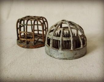Set of 2 Vintage Cage Flower Frogs