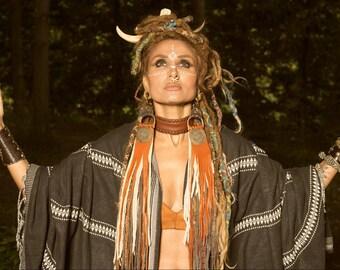 Shaman Goddess, Handmade Boho Gypsy Nativ Viking Leather Earweight/ Earrings, Statement Earrings leather Fringe Brass Pendant