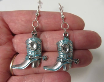 FREE SHIPPING! Cowgirl Earrings-Silver and Turquoise Cowboy Boot Dangle Earrings-Country Western Earrings