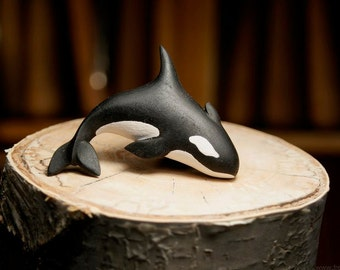Wooden Orca  Brooch Killer Whale Ebony Pin  killer whale brooch, wooden orca brooch, killer whale jewelry
