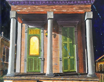 Halloween New Orleans French Quarter Shotgun House Art Print Signed and Numbered