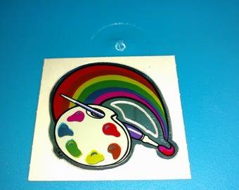 vintage stickers BJ DECAL SPECIALTIES painters brush rainbow unused