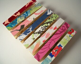 Clothespins. Pegs. Pins. Memo Clips Chip Clip. Home Office.Kitchen. Gift Wrap. Spring Mix. Set of 8. Bright2.