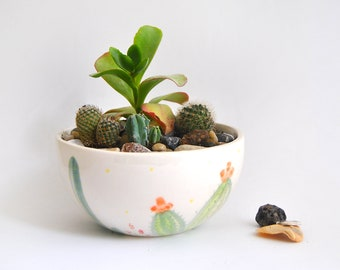 Ceramic Flowerpot with Cactus Decoration. Perfect for Terrarium Cactus, Succulents and Air Plants. Ready To Ship