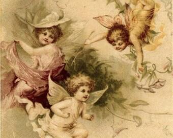 4 Decoupage Napkins|Fairies at Play |Fairy Napkins|Garden Napkins|Fairy Garden|Paper Napkins for Decoupage