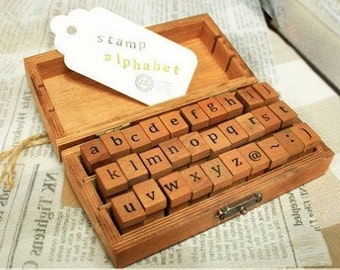 Vintage Alphabet Stamp Set -- Wooden Rubber Stamps -- Rubber Stamps -- Lowercase -- 30 pcs