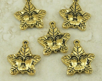 5 TierraCast Tree Spirit or Green Man charms * 22kt Gold Plated Lead Free Pewter - I ship internationally 2121