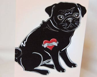 Custom Black Pug Tattoo Greeting Card