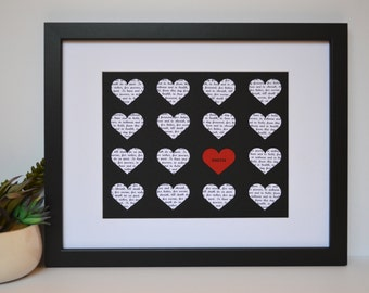 Paper Heart Art- Lyric Hearts, First Dance Song, Parents Thank You, Anniversary Gift, Song Lyric Hearts, Initials love Heart