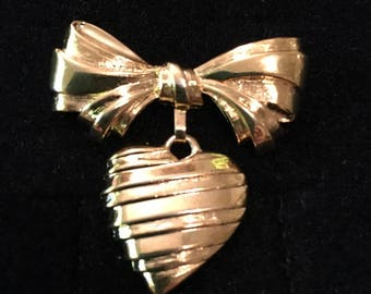 Vintage Bow and Message of the Heart Brooch by Avon