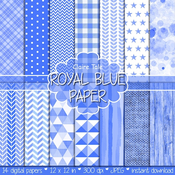 Royal blue digital paper, Royal blue digital patterns, Royal blue scrapbooking paper, Royal blue printable invitation paper, Royal blue wood