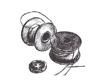 Bobbin tc181 sold unmounted rubber stamp