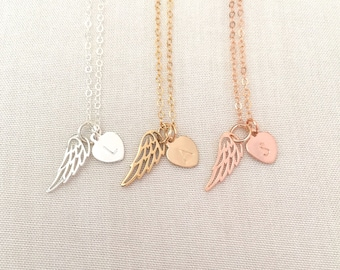 Rose Gold Angel Wing Necklace, Mother of An Angel, Infant Loss Necklace, Memorial Jewelry, Sterling Silver, Gold Fill Heart, Father Memorial