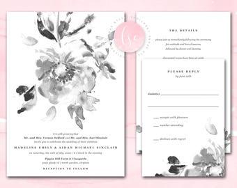 Wedding Invitations, Wedding Invites, Digital Printable Wedding Invitation, Watercolor Floral, Black and White | DIGITAL PRINTABLE