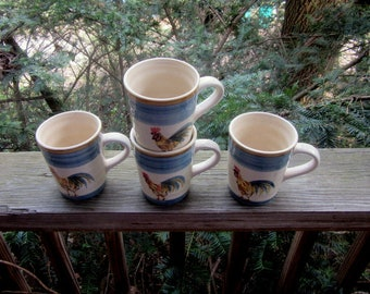 GIBSON ROOSTER MUGS hand painted pottery 4 mugs