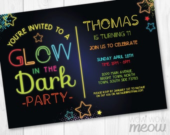 Glow in the Dark Invitations Neon Party Invite Birthday any Age INSTANT DOWNLOAD Paint Girls Boys Digital Personalize Editable Printable