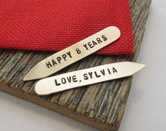 8th Anniversary Collar Stay Eighth Anniversary Gift for Anniversary Bronze Collar Stay Eight Year Anniversary Collar Stiffeners Husband Gift