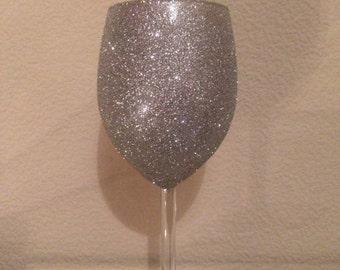 Glitter Wine Glass Silver