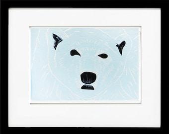 Polar Bear, Linoleum Block Print