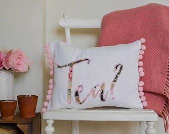 Tea gift - tea cushion with pink pompom trim | The perfect gift for a tea fanatic | Floral tea pillow | Floral tea cushion | Floral tea gift