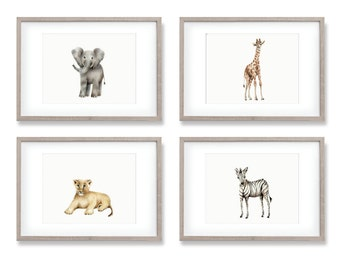 Safari Nursery Prints, Baby Animal Art, Elephant, Giraffe, Zebra, Lion, Gender Neutral Baby, Jungle Nursery, Baby Wall Decor, Painting