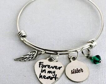 Forever in my Heart, SISTER Memorial Bangle, In Memory of Sister, Loss of Sister, Sympathy Gift