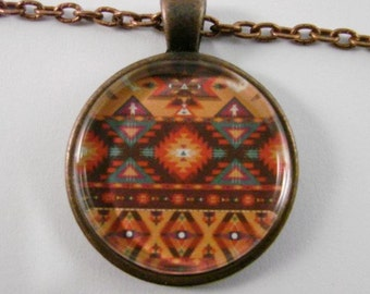 AZTEC PATTERN Necklace -- Traditional Aztec tapestry pattern, Tribal art, South American Art, Spiritual Art