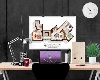 Big Bang Theory Art Print   Apartment Floor Plan   TV Memorabilia   TV  Floor Plan