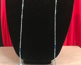 Blue Long Beaded Lariat/Wrap Necklace with London Blue Quartz Pendant