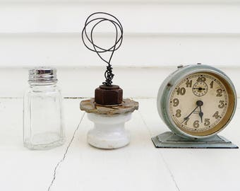 """Wire photo holder from found objects / Junk photo stand / Industrial decor / """"Pile of rusty stuff"""" collection"""