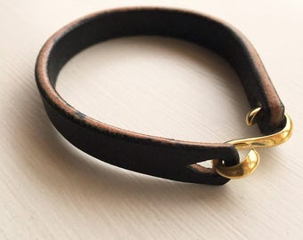 Clobbercalm X Pigeon Tree Crafting Black Bridle Leather Cuff with Solid Brass 'S' Clasp Hook