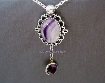 Fluorite Natural Banded Stone Pendant with Purple Crystal Charm Necklace Jewelry