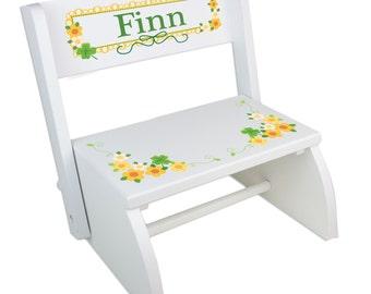 Irish baby gift etsy personalized irish baby gift custom shamrock folding flip step stool st patricks day gifts childrens negle Gallery