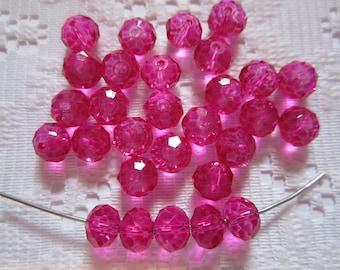 24  Hot Pink Fuchsia Magenta Rondelle Crystal Beads  8mm x 6mm