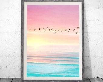 Sunset art print, Art Print, Sunset Wall art, Sunset painting , Ocean Sunset Print. Large Poster Art Print 5x7-24x32inc, Sunrise Artwork