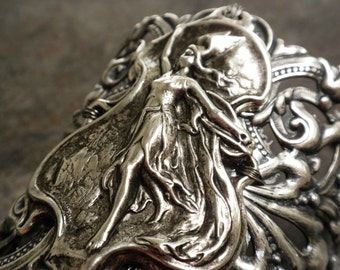 Viking Jewelry Valkyrie Norse Goddess Wide Silver Cuff Bracelet