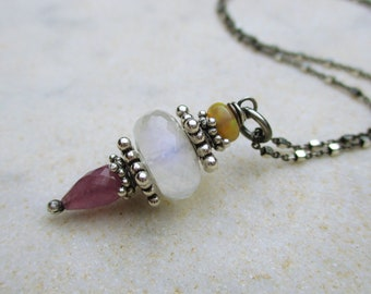 Rainbow moonstone pink sapphire & Ethiopian Welo opal necklace, boho luxe gemstone pendant necklace, two tone chain sterling silver necklace