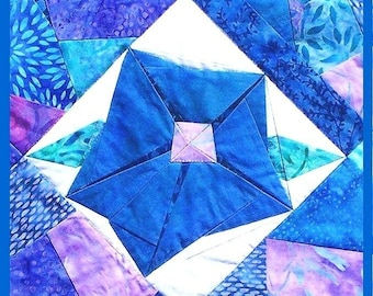 MORNING GLORY Table Runner Pattern - B J Q 123 --- Printable Download Pdf E-Pattern Diy Free Shipping Digital Pattern Batik Blue Purple