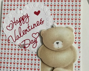 Cute Happy Valentines Day card layered bear
