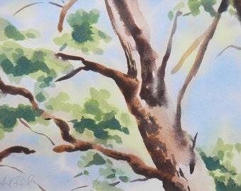 Original watercolor, Lyrical Tree, 16 x 20