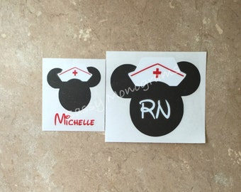 Nurse Minnie Mouse Personalized Monogram Vinyl Decal Glitter Nurse Minnie