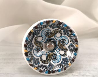 Ceramic Knob, Beautifully Decorated Knobs, Round Bowl Style Drawer Pulls, Cabinet Hardware, Item #558441945