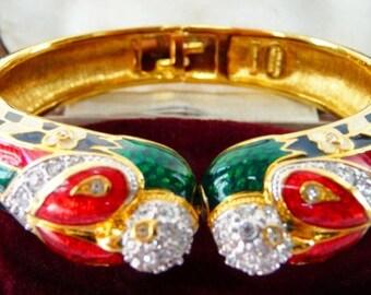 vintage Nolan Miller parrot cuff bracelet | guilloche enamel | TAJ design Glamour Collection | bird cuff | 1980s | Art Deco parakeet