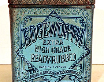 Edgeworth Tobacco Tin Extra High Grade Tall Pinched Can