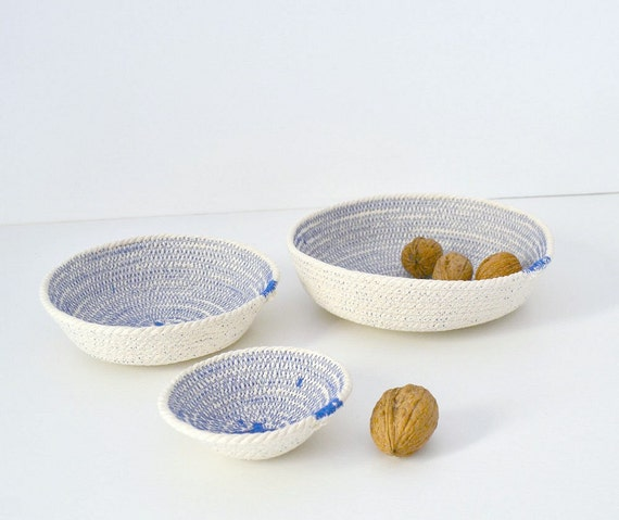 Cotton rope bowls, Set of cotton bowls, Coiled cotton bowls Cotton beach decor, Mediterranean decor Keys holder, Cotton basket Wedding gifts