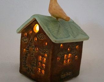 Luminaries, ceramic house luminary, pottery house candle holder, clay house,pottery anniversary, housewarming gift, garden house luminary