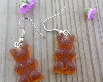 Teddy bear earrings resin
