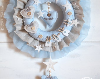Baby Wreath Handmade from Linen, Hospital Door Hanger Boy, Baby Hospital Door Decorations, Baby Boy Wreath //FREE 2-day DELIVERY WORLDWIDE//