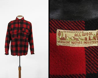 Vintage 50s Buffalo Plaid Shirt Red Wool Vermont Natives Hunting Shirt Made in USA - Large